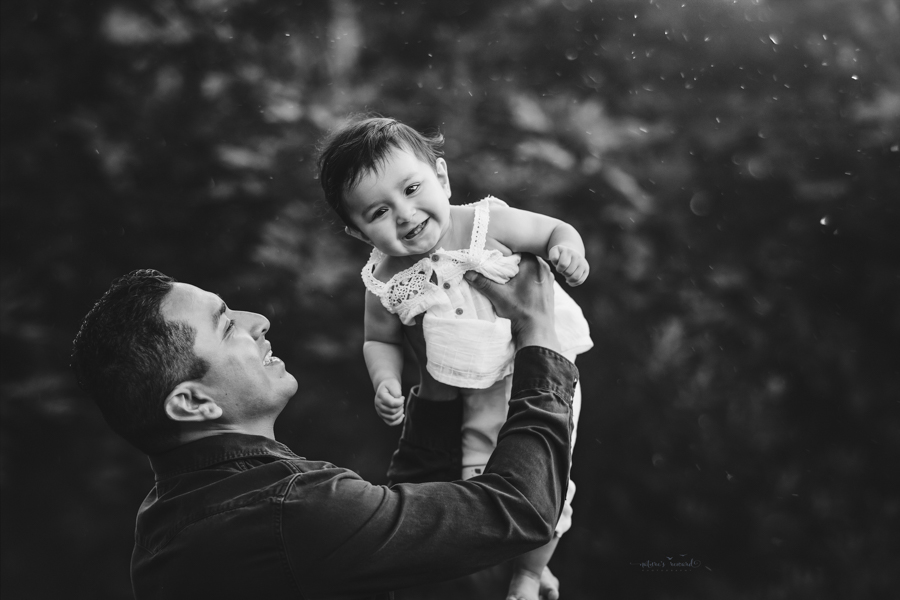 Black and white Dad and daughter portrait taken during a family session by Nature's Reward Photography