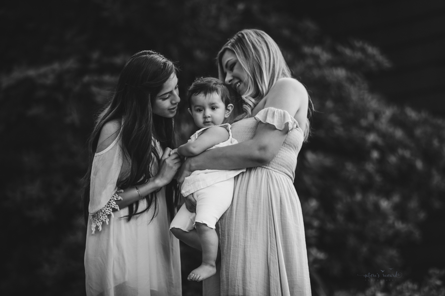 Black and white Mother and daughters portrait taken during a family session by Nature's Reward Photography