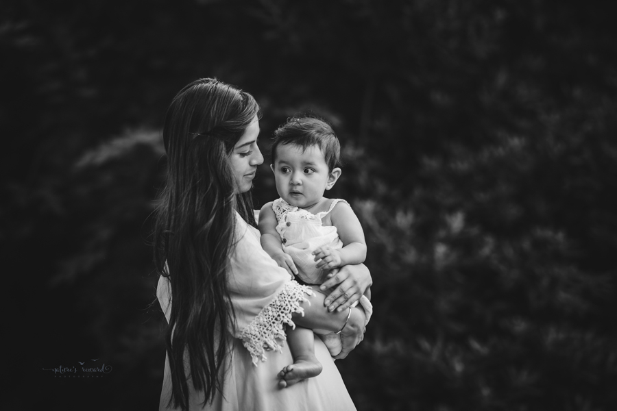 Black and white Sibling Portrait taken during a family session by Nature's Reward Photography