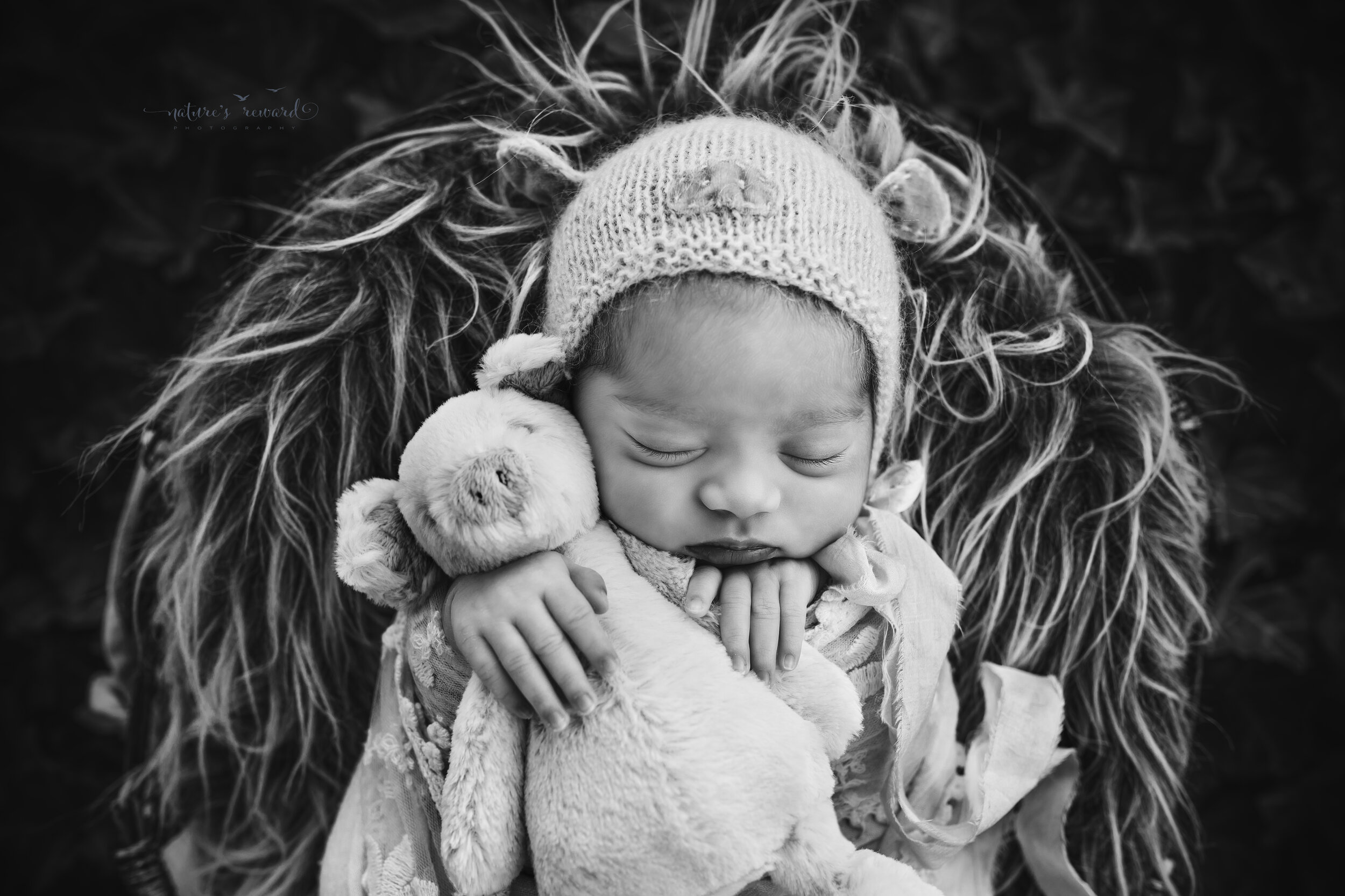 Black and White portrait of a baby girl swaddled in wearing a pig bonnet (the year of the pig) in a garden of ivy, a newborn portrait by Nature's Reward Photography