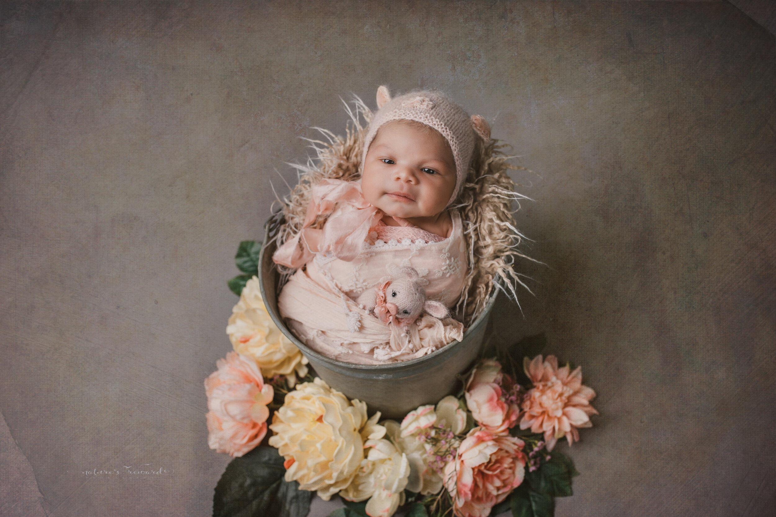 Newborn Baby girl swaddled in natural neutrals in the year of the pig bonnet and in a bucket a portrait by Nature's Reward Photography