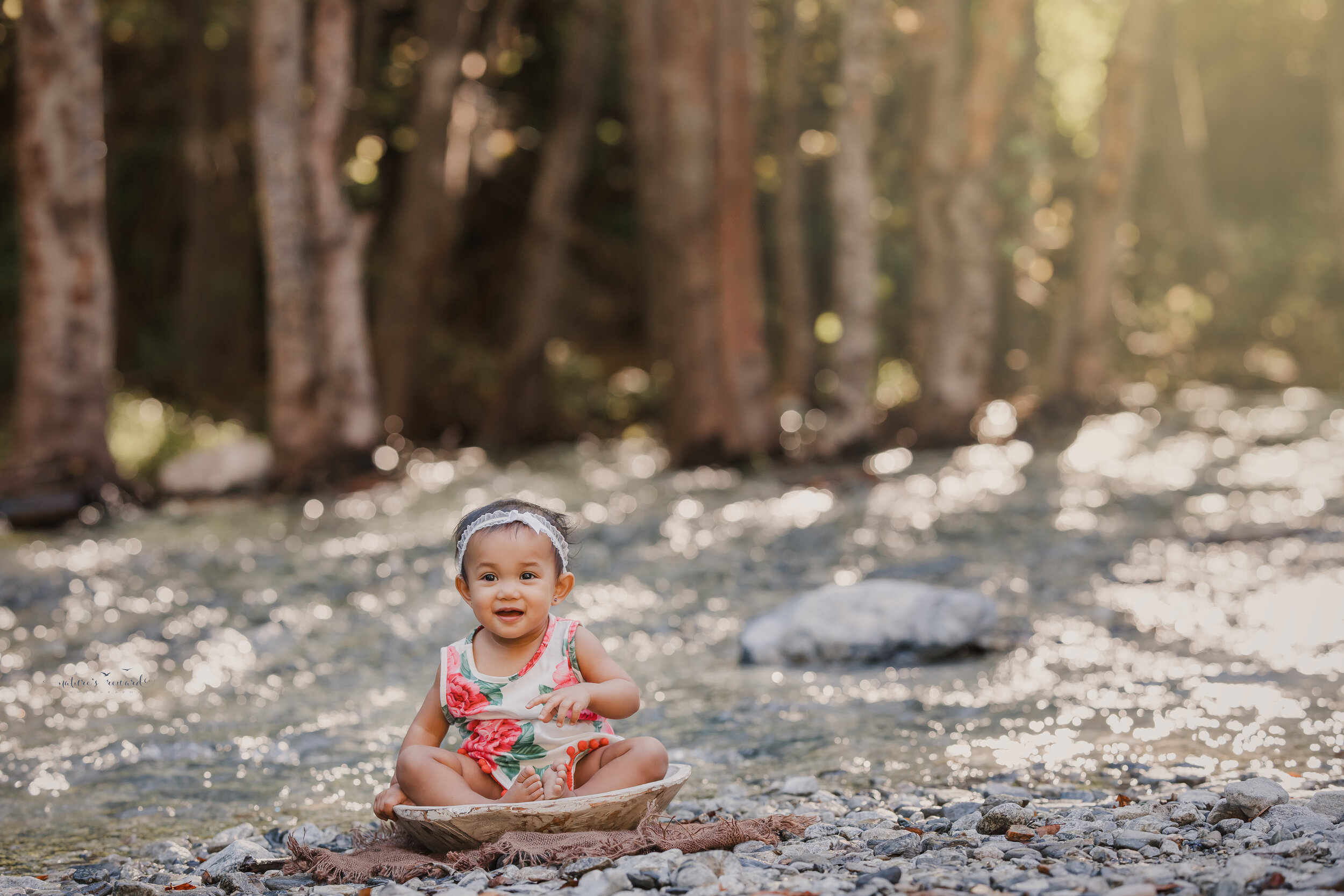 Beautiful family at the creek- portrait by Nature's Reward Photography