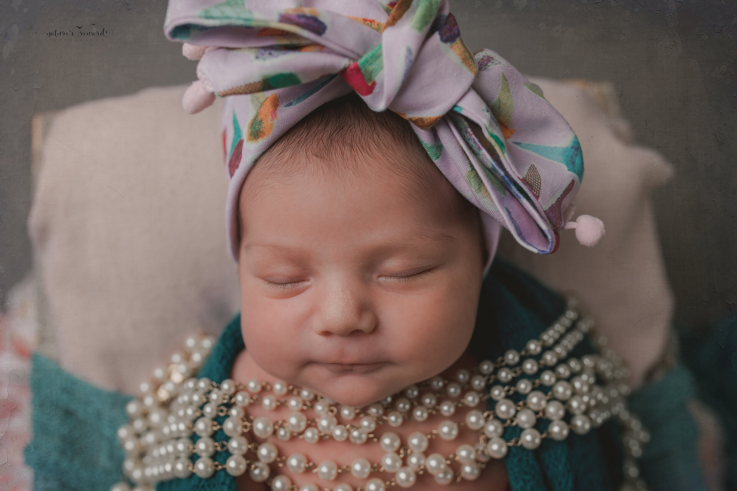 A newborn baby girl in the bow her mother brought for her in this portrait by Nature's Reward Photography