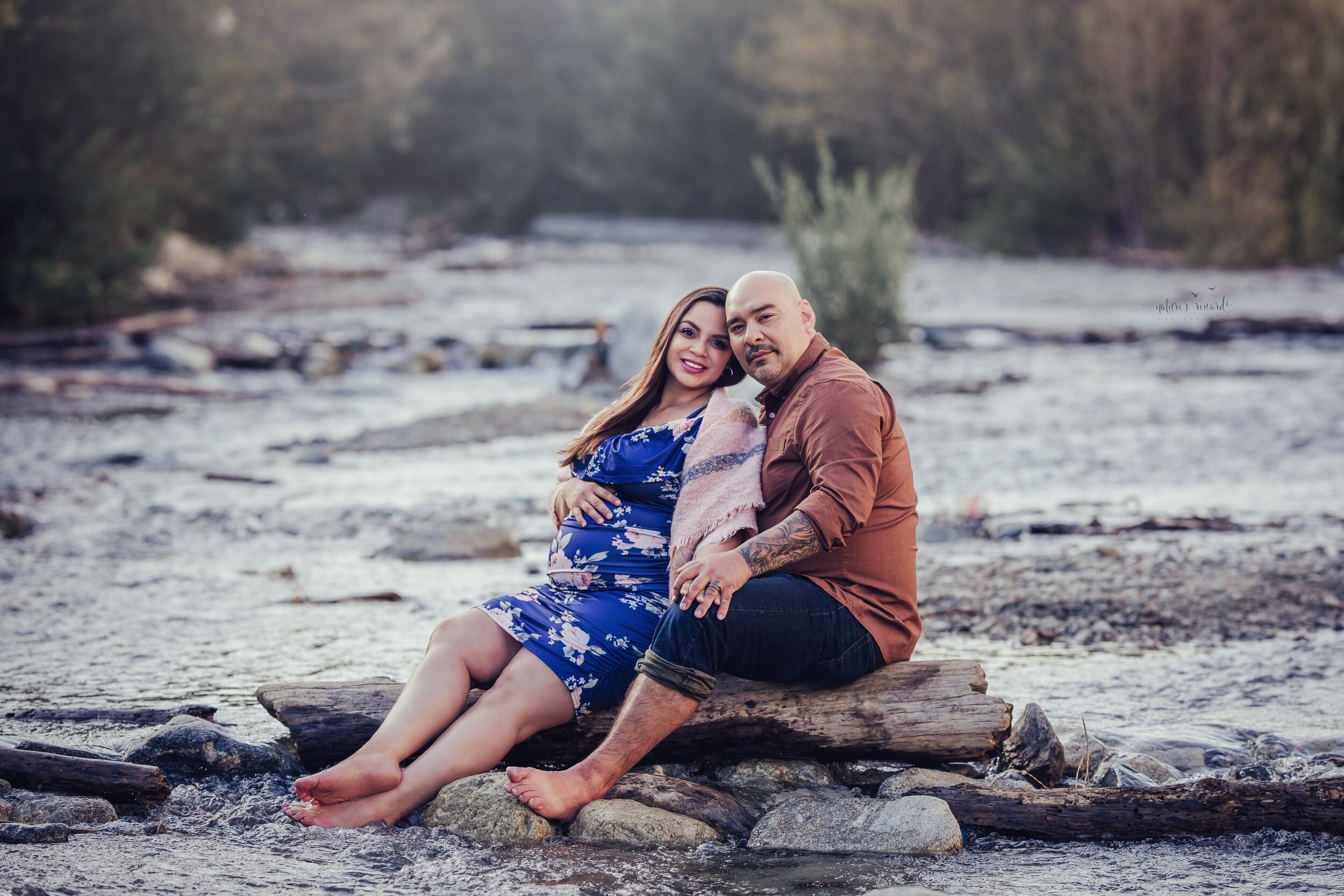 Maternity session at the creek by San Bernardino Maternity, Newborn, and Children photographer- Nature's Reward Photography.