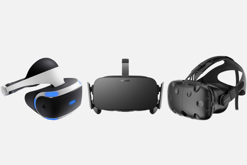 From left to right: Sony's Playstation VR, Oculus Rift, and HTC Vive.