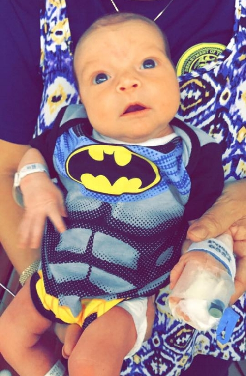 We spent Halloween in the hospital - his first costume!