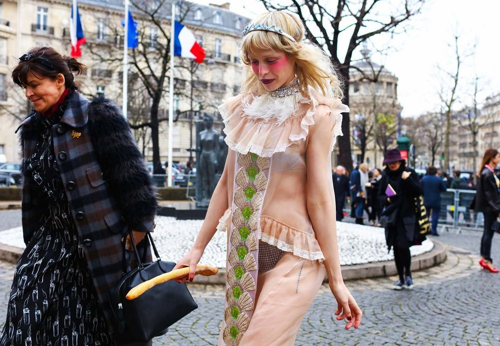 This image is so Marie Antoinette to me.Petite Meller (right),  image by Phil Oh , Paris Fashion Week 2016.
