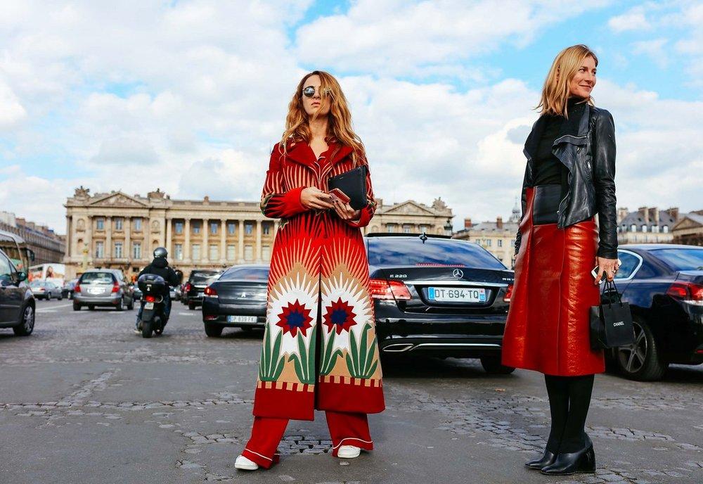 Alexia Neidzelski in Valentino coat and Elizabeth von Guttman,  image by Phil Oh , Paris Fashion Week 2016.