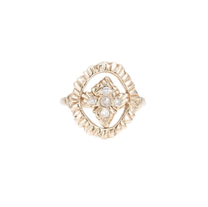 Radiance Shield Ring, 14k Yellow Gold -White Diamonds & Champagne Rose Cut Diamond,  Communion by Joy .