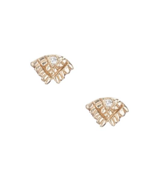 Spirit Studs, 14k Yellow Gold- White Diamonds,  Communion by Joy .