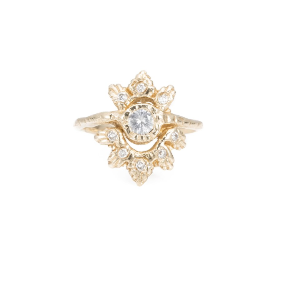 Light Burst Ring, 14k Yellow Gold -White Diamonds,  Communion by Joy .