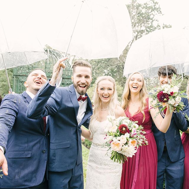 Rain didn't dampen the joy that Elle and Andrew felt on their wedding day! Rainiest wedding day ever but they took it in stride! Photo credit: @mariamackphotog  #weddingparty #rainydaywedding #weddingflowers #fallflowers #dahlias #fallweddingseason