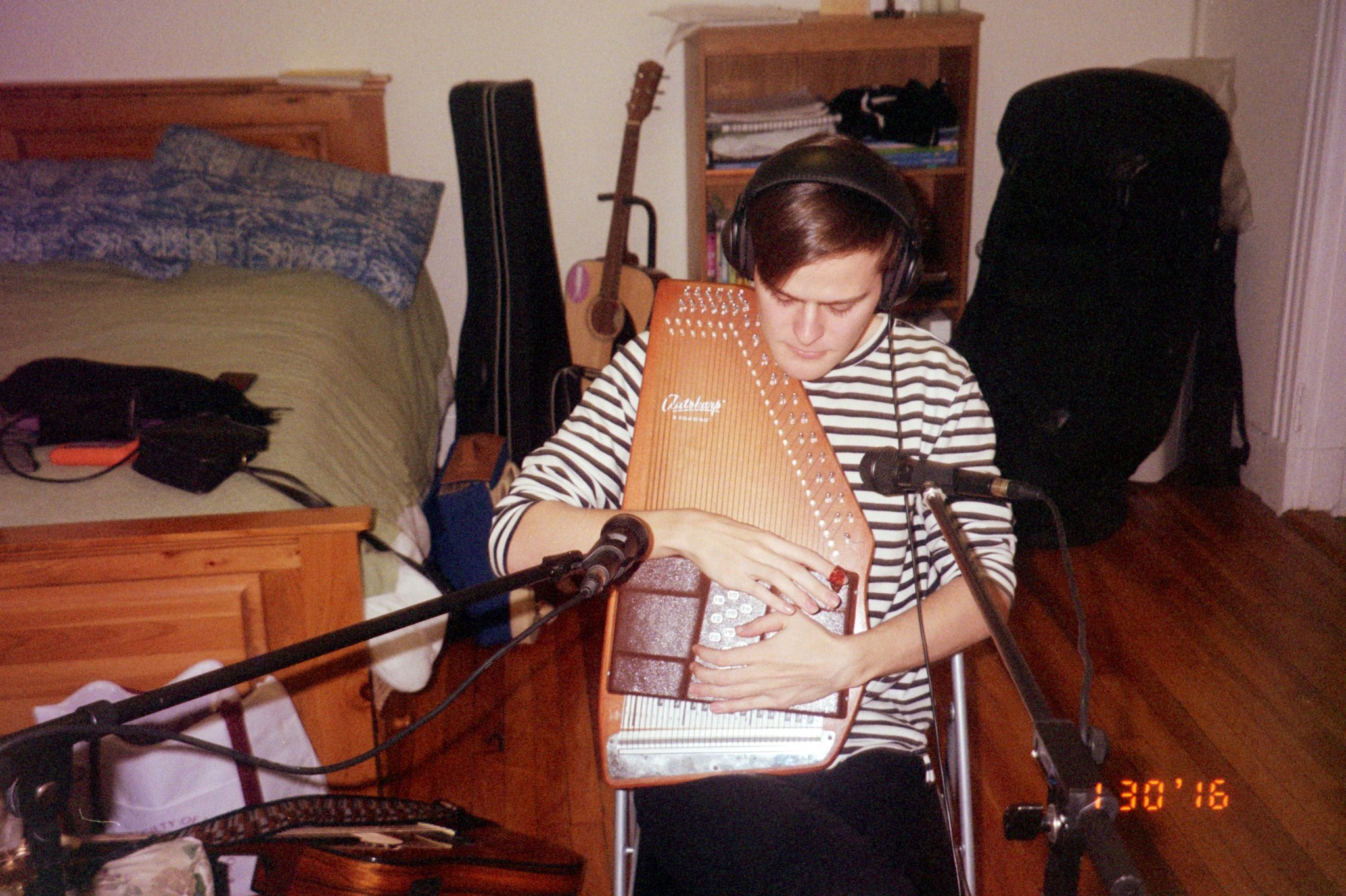 "Recording Autoharp for ""Kiss of a Figure Skater""."