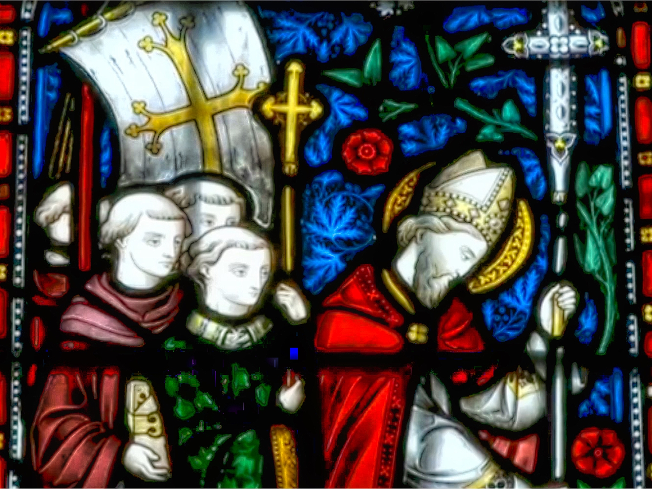 Stained-glass window depicting Saint Augustine of Canterbury arriving in England in 597