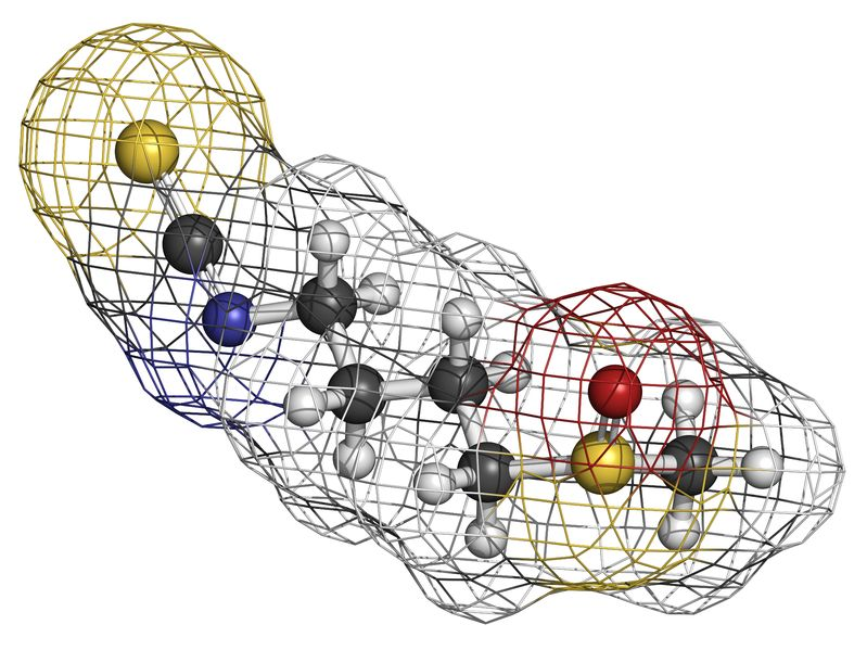 Sulforaphane broccoli molecule, chemical structure. Atoms are represented as spheres with conventional color coding: hydrogen (white), carbon (grey), oxygen (red), sulfur (yellow), nitrogen (blue)