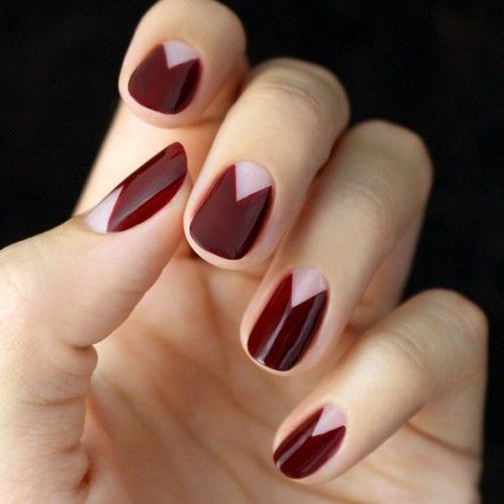 Burgundy Chevron Half Moon Mani, Hannah Rox it