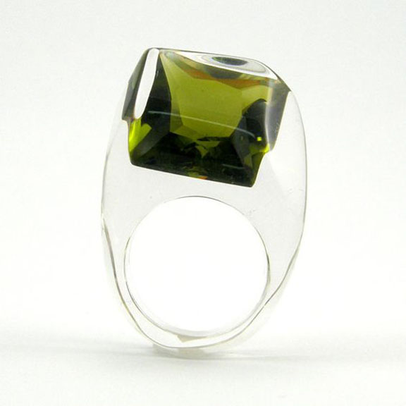 Sylwia Calus, Green Olive Crystal Ring Clear resin ring with square deep forest zirconia