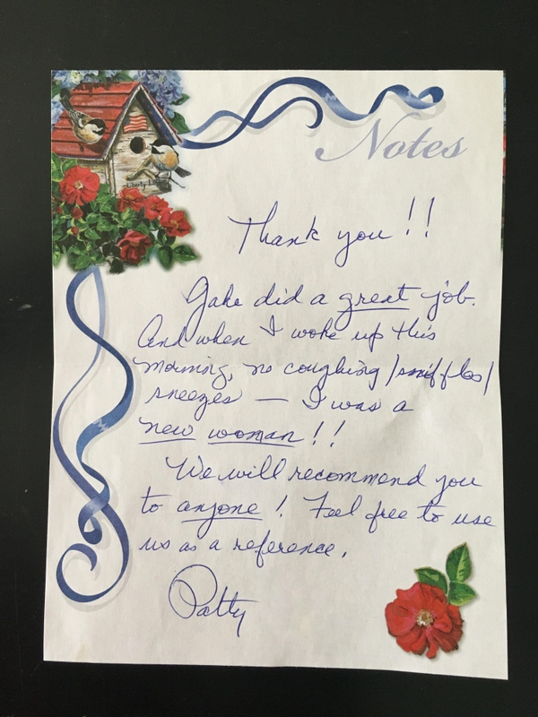 A recent client thank you note.