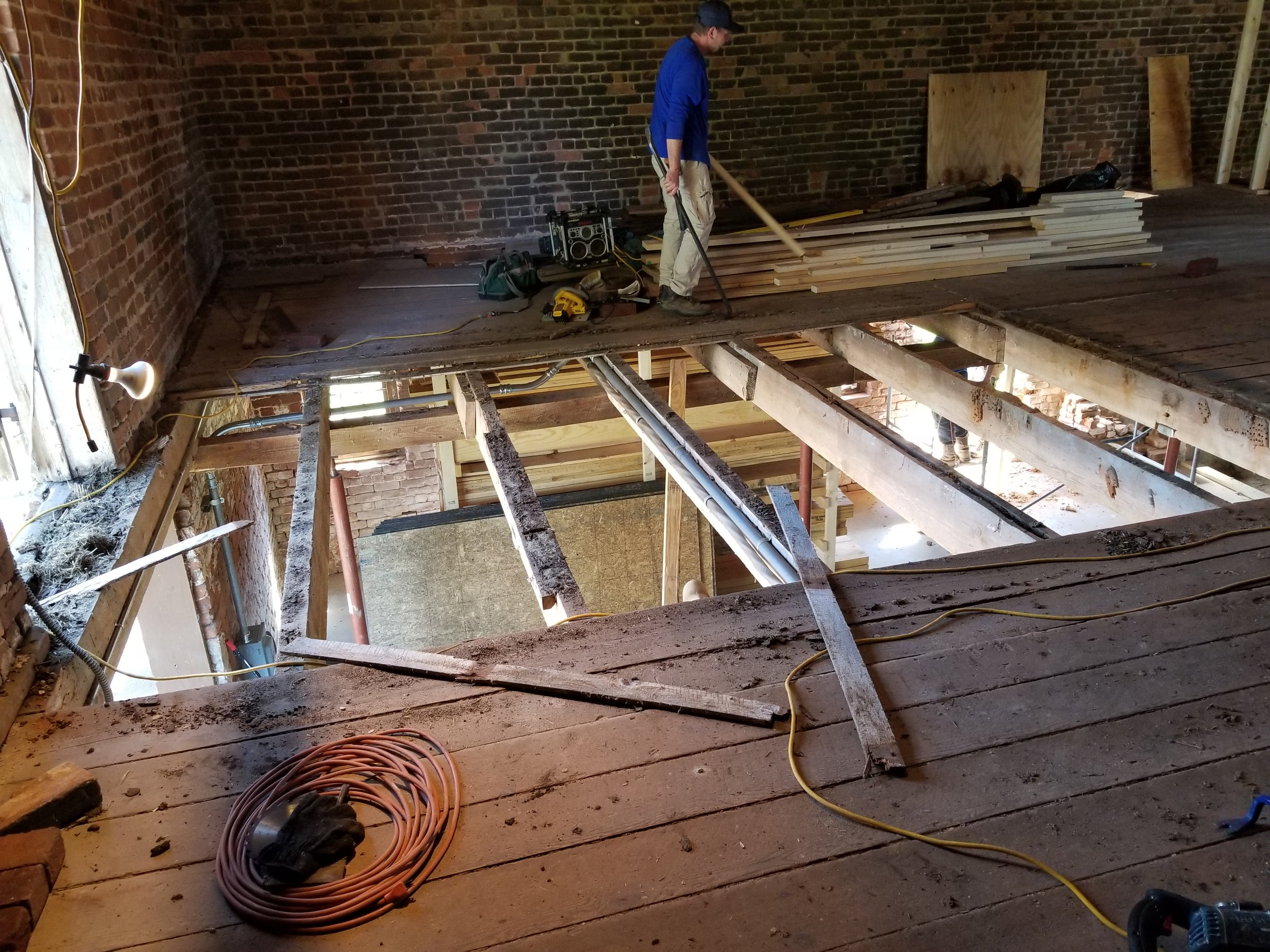Second floor under construction