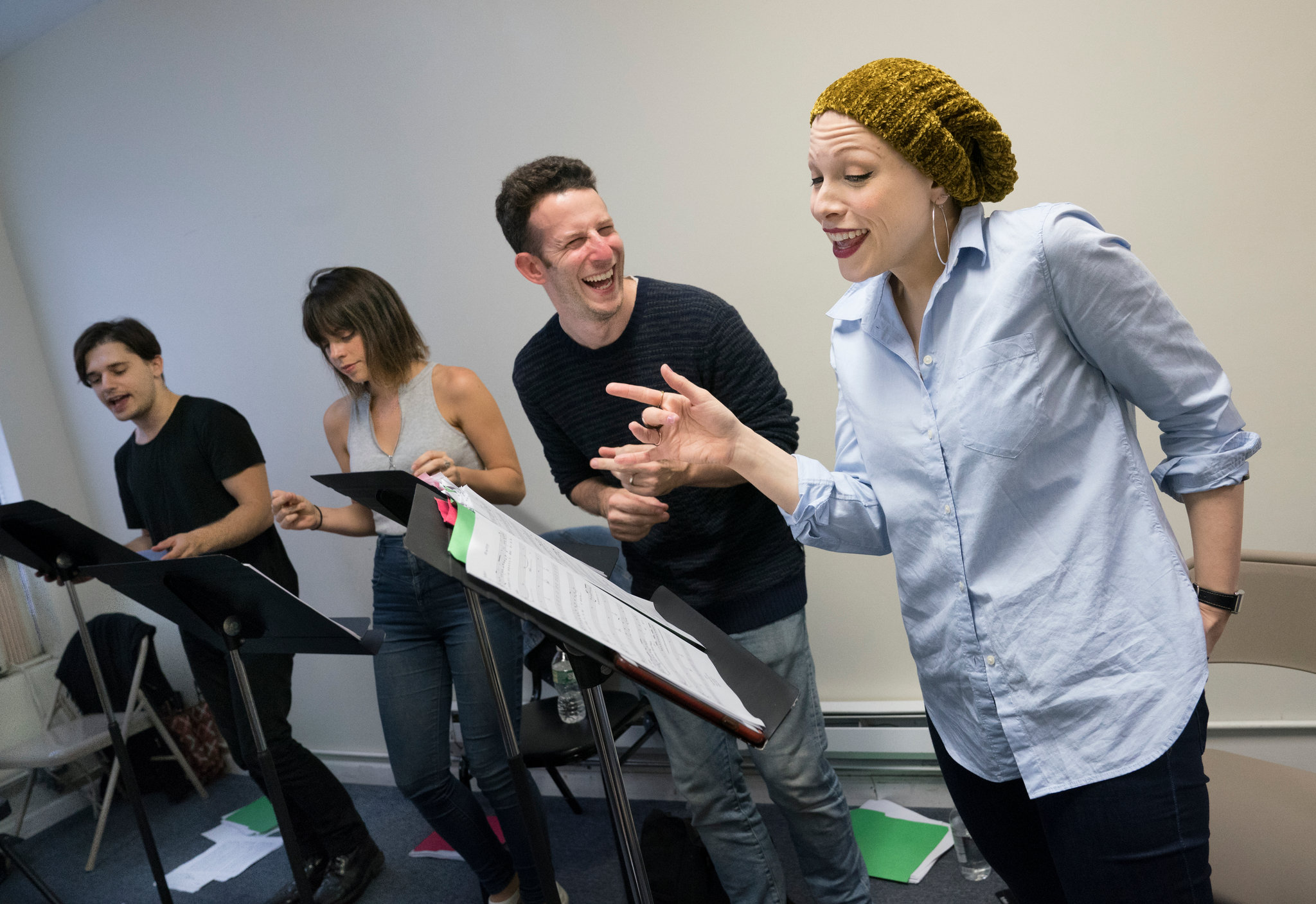 "From left, Andy Mientus, Krysta Rodriguez, Nick Blaemire and Lauren Marcus rehearse for the ""Jonathan Larson Project"" concerts.CreditCreditSara Krulwich/The New York Times"