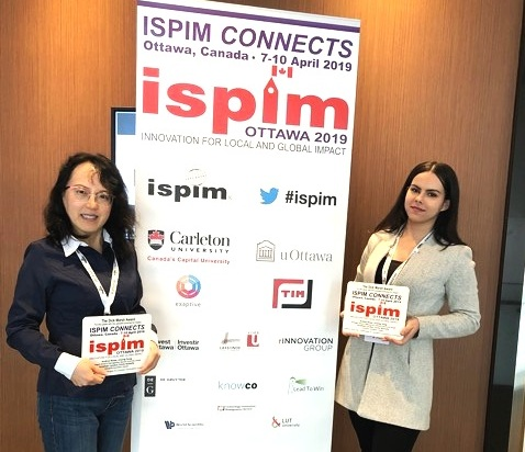 Dr. Linying Dong (left) and Emily Rezkalla (right) with the ISPIM Dick Marsh Award