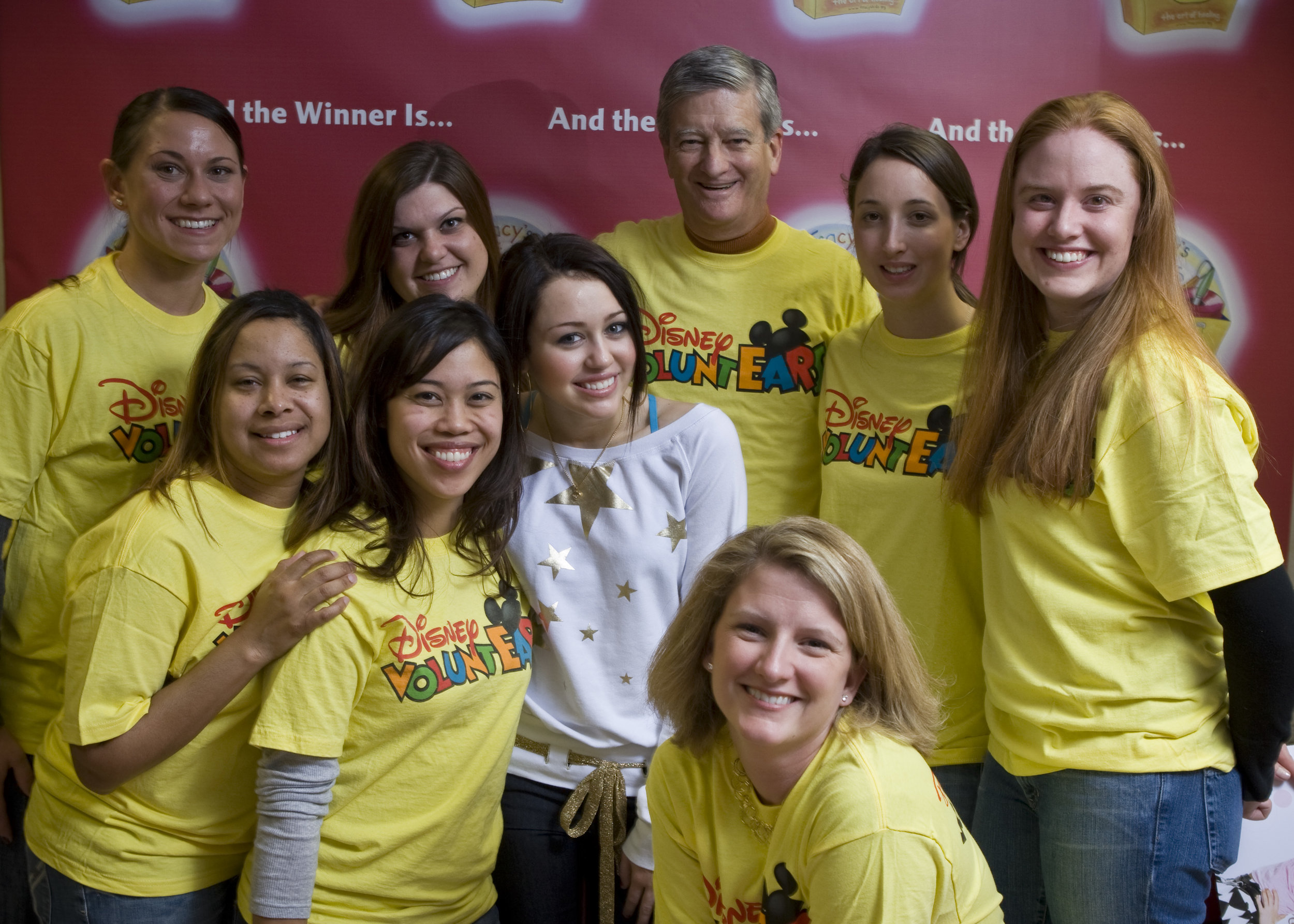 Miley Cyrus joined Disney VoluntEARS to visit patients and hand out toys at various Children's Hospitals.