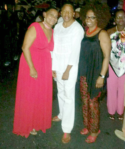 Mrs. Beckles-Robinson and friends at the party