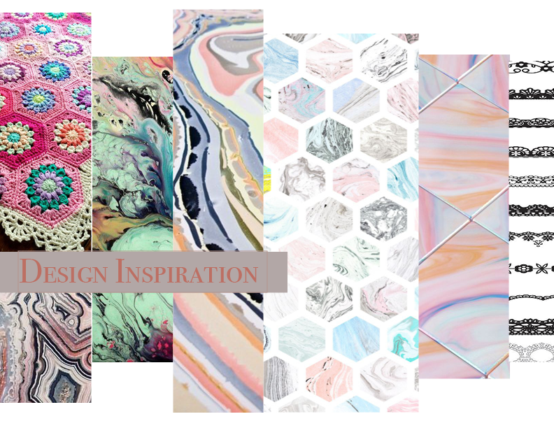 Concept Design - The pattern took inspiration from crochet, lace, crazy lace agate, and marbled patterns.