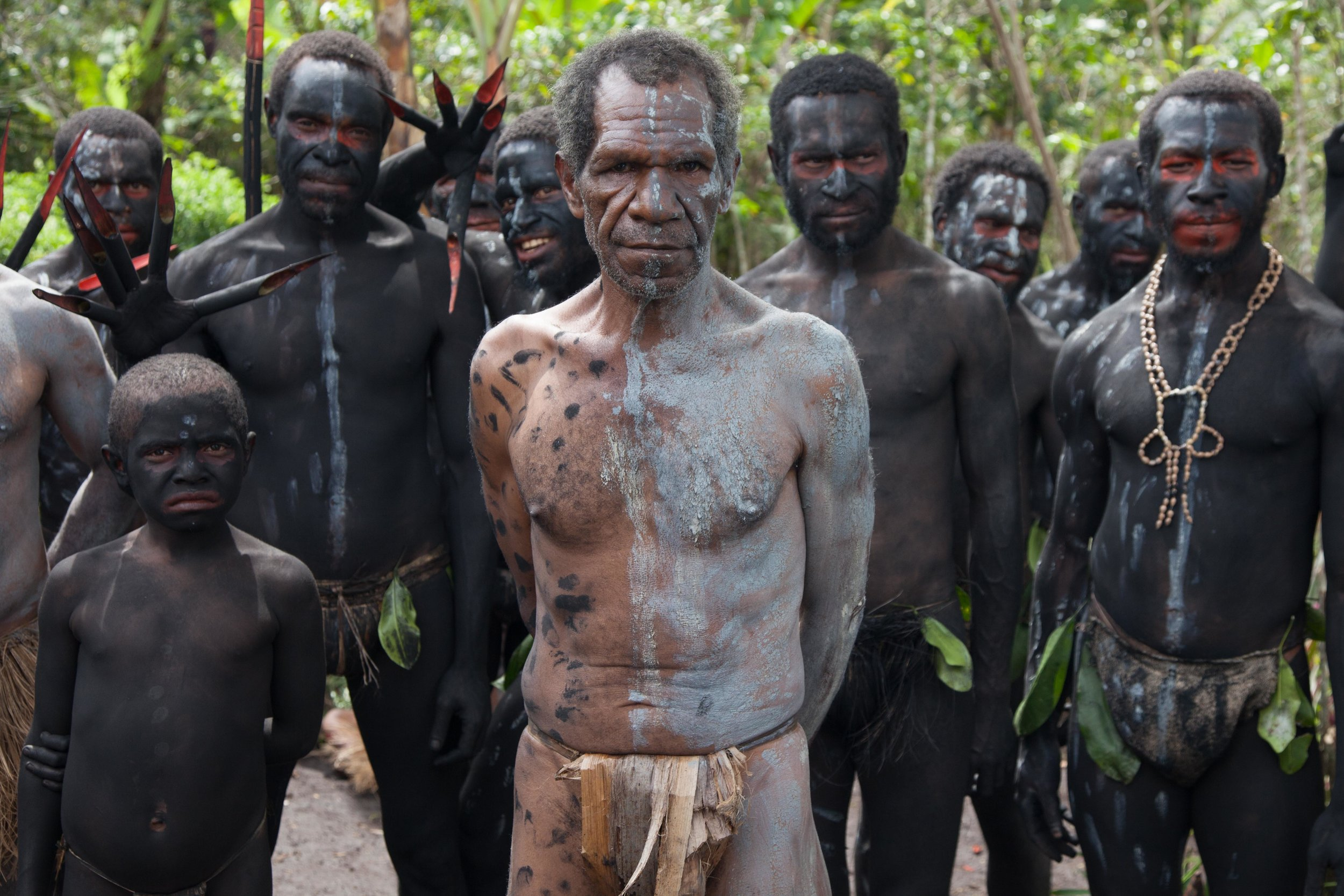 Nokondi tribesmen dressed to perform their Spirit Dance. Eastern Highland province