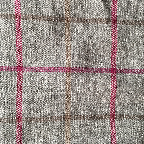 Gray & Pink Windowpane  Style: Checks & Plaids ID: 15680 Color: Gray Retail Price: $18.90 per yard Content: 47.5% Polyester, 52.5% Cotton
