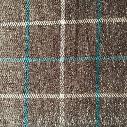 Grey/Turquoise Plaid  Style: Checks & Plaids ID: 15691 Color: Gray Retail Price: $18.90 per yard Content: 47.5% Polyester, 52.5% Cotton