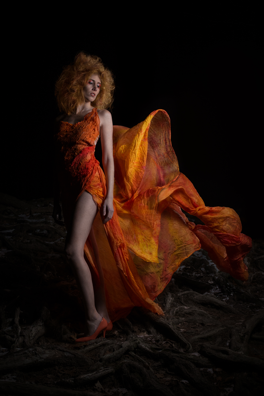 Photography: Lance Kenneth Blakney l Model: Jessica Hughes l Hair: Mike Drost l MUA: Billy Peterson l Fibre Art: Alexandra Keely l Silk Surface Design/Producer: Dee Wilkie