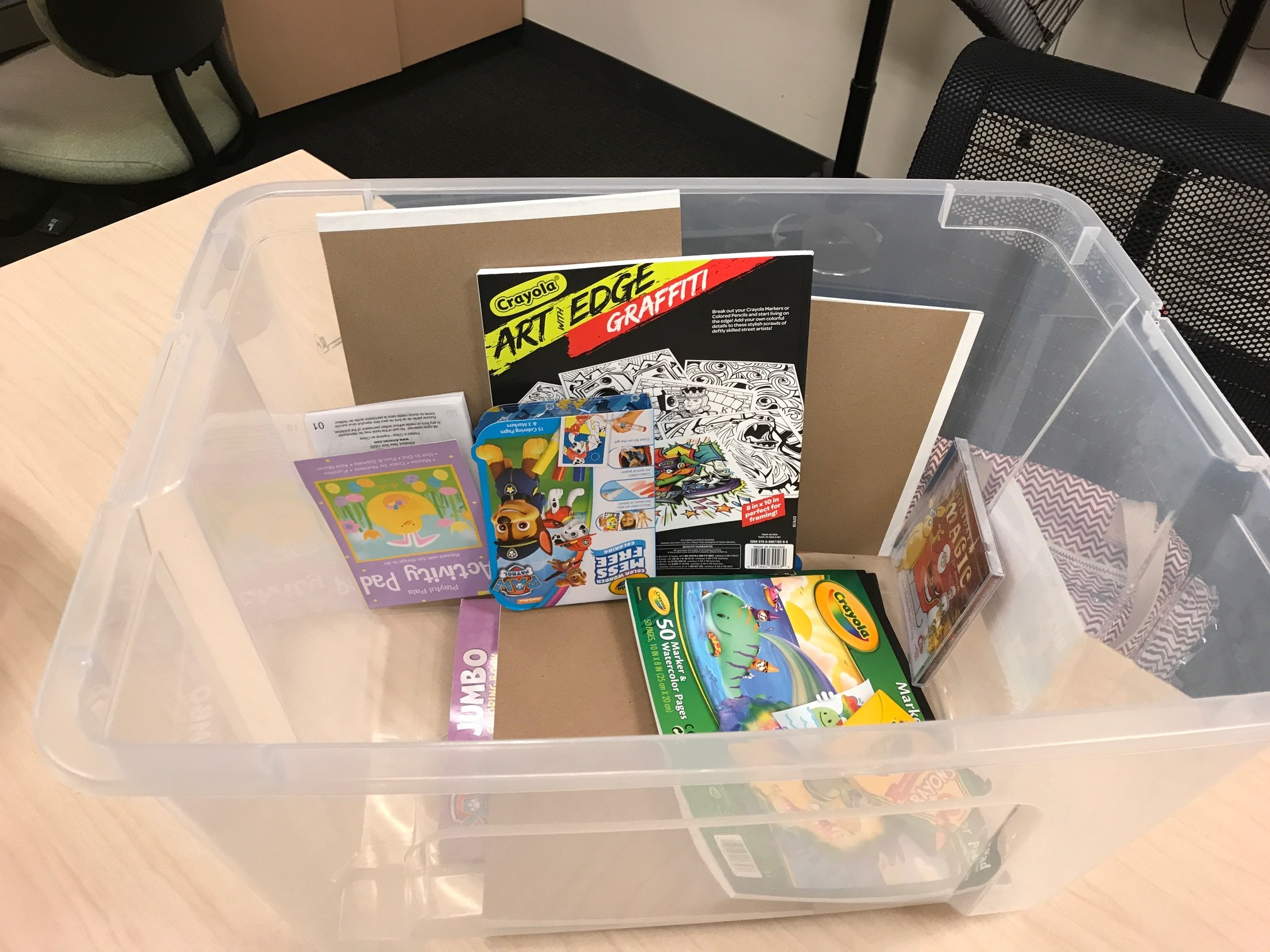 This is an almost empty art box. HARK re-fills the boxes every week!