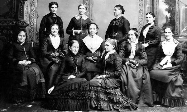 Front row: Jane S. Richards, left, Emmeline Wells. Middle row: Phoebe Woodruff, Isabelle Horne, Eliza R. Snow, Zina Young, Marinda Hyde. Back row: Dr. Ellis R. Shipp, Bathsheba W. Smith, Elizabeth Howard, Dr. Romania Pratt Penrose. (Utah State Historical Society)