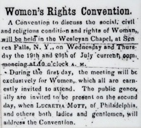 The Seneca County Courier's advertisement of the Seneca  Falls Convention, July 14, 1848.     [Women's Rights National Historical Park]