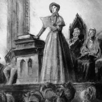 Depiction of Elizabeth Cady Stanton reading the Declaration   of Sentiments at the Seneca Falls Convention [Library of Congress,   Prints and Photographs Division]