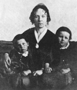 Elizabeth Cady Stanton with two of her children around the time of the Seneca Falls Convention [Library of Congress]