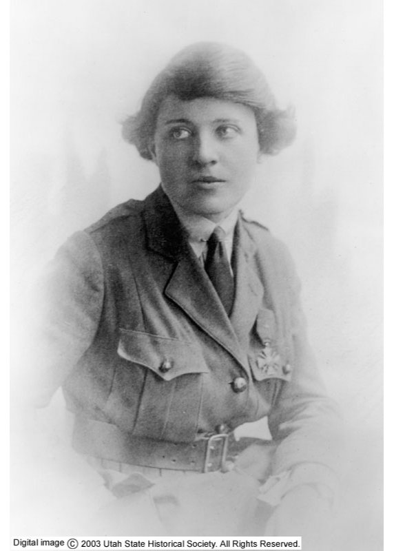 Maud May Fitch wearing her French Cross medal. Photo courtesy of the Utah State Historical Society.