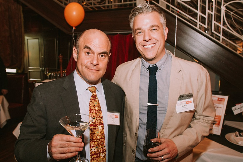 Host of the show, and House Board Member, Peter Sagal and The House's Artistic Director, Nathan Allen.  Photo Credit: Tyler Core.