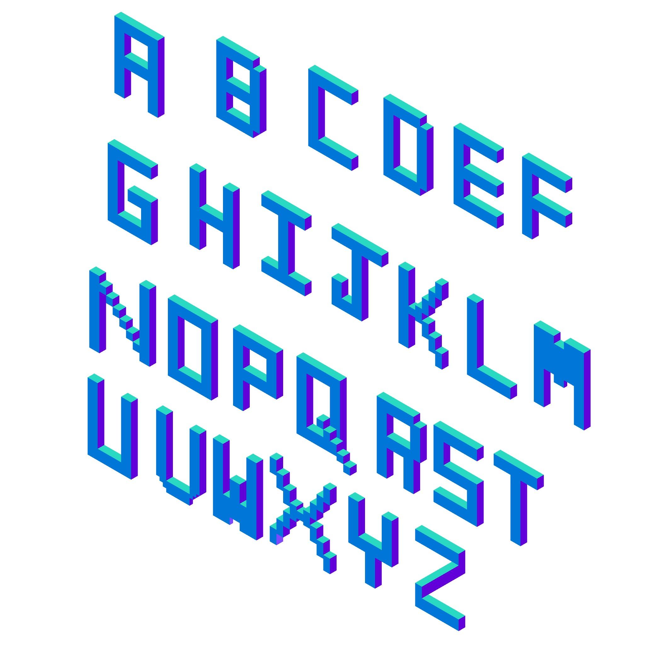 Alphabet created in  Isometric