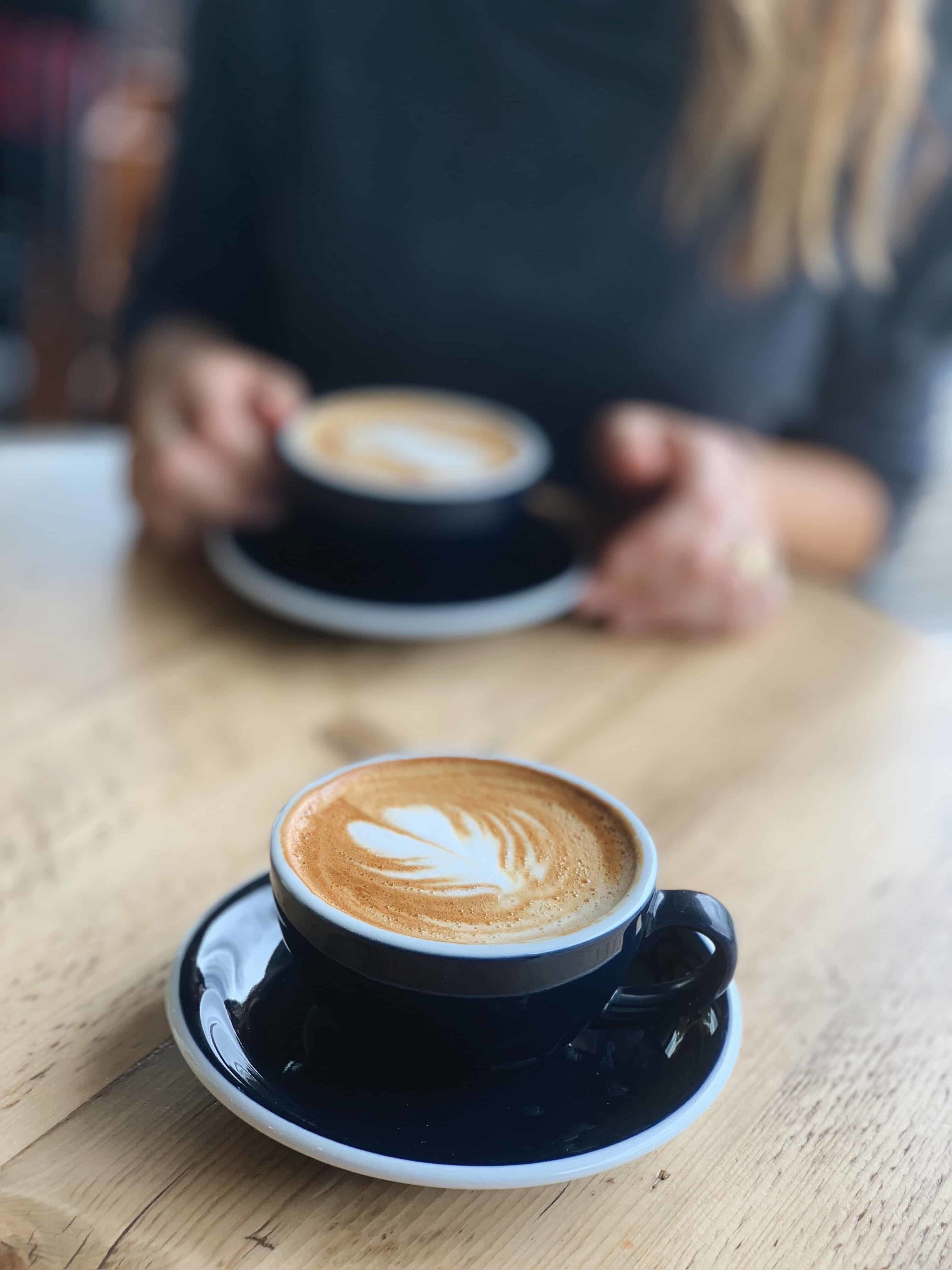 Delicious oat milk flat white coffee