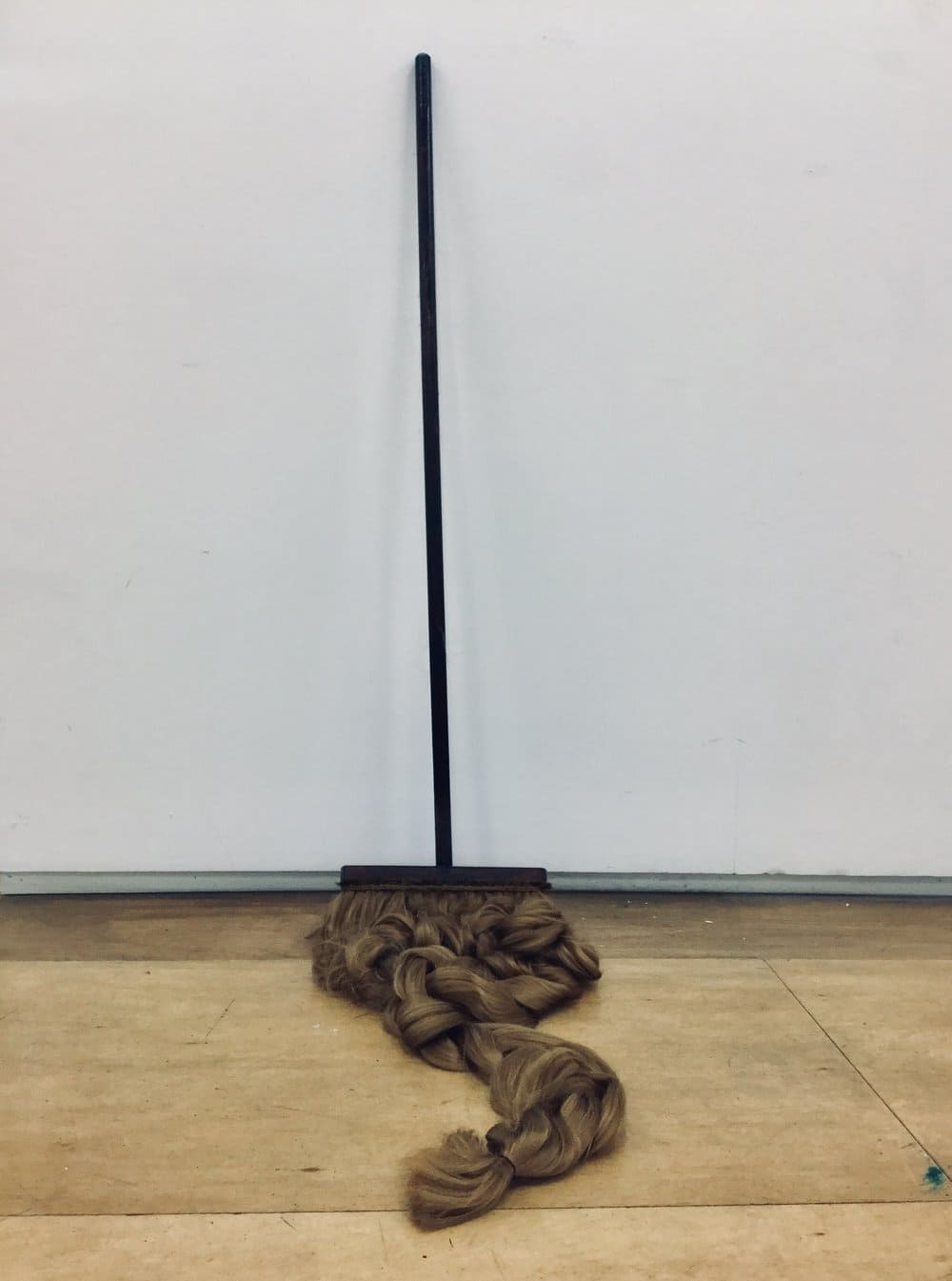 Camilla Hanney,  Domestic Pleasure,  2019. Broom, hair, dimensions variable. Image courtesy of the artist.