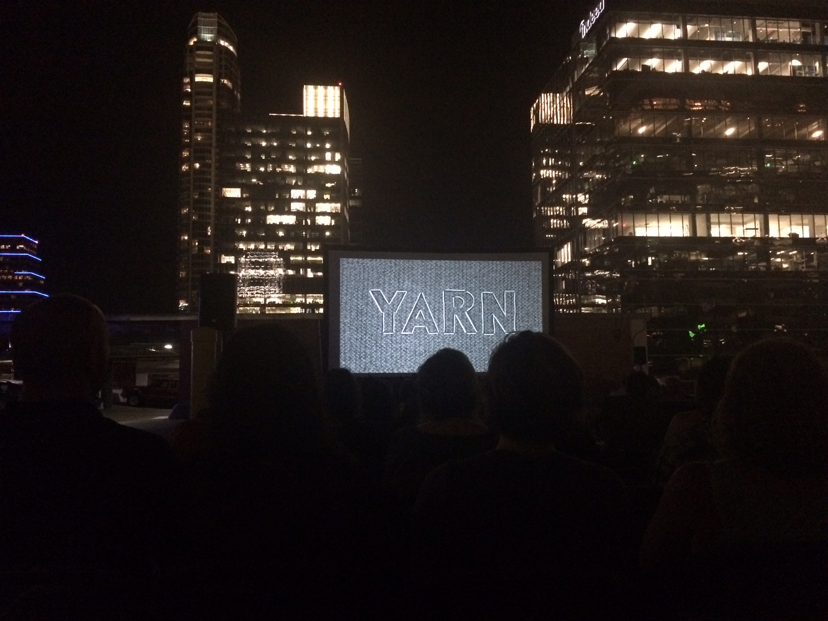A beautiful night to watch a movie on a rooftop in Austin.