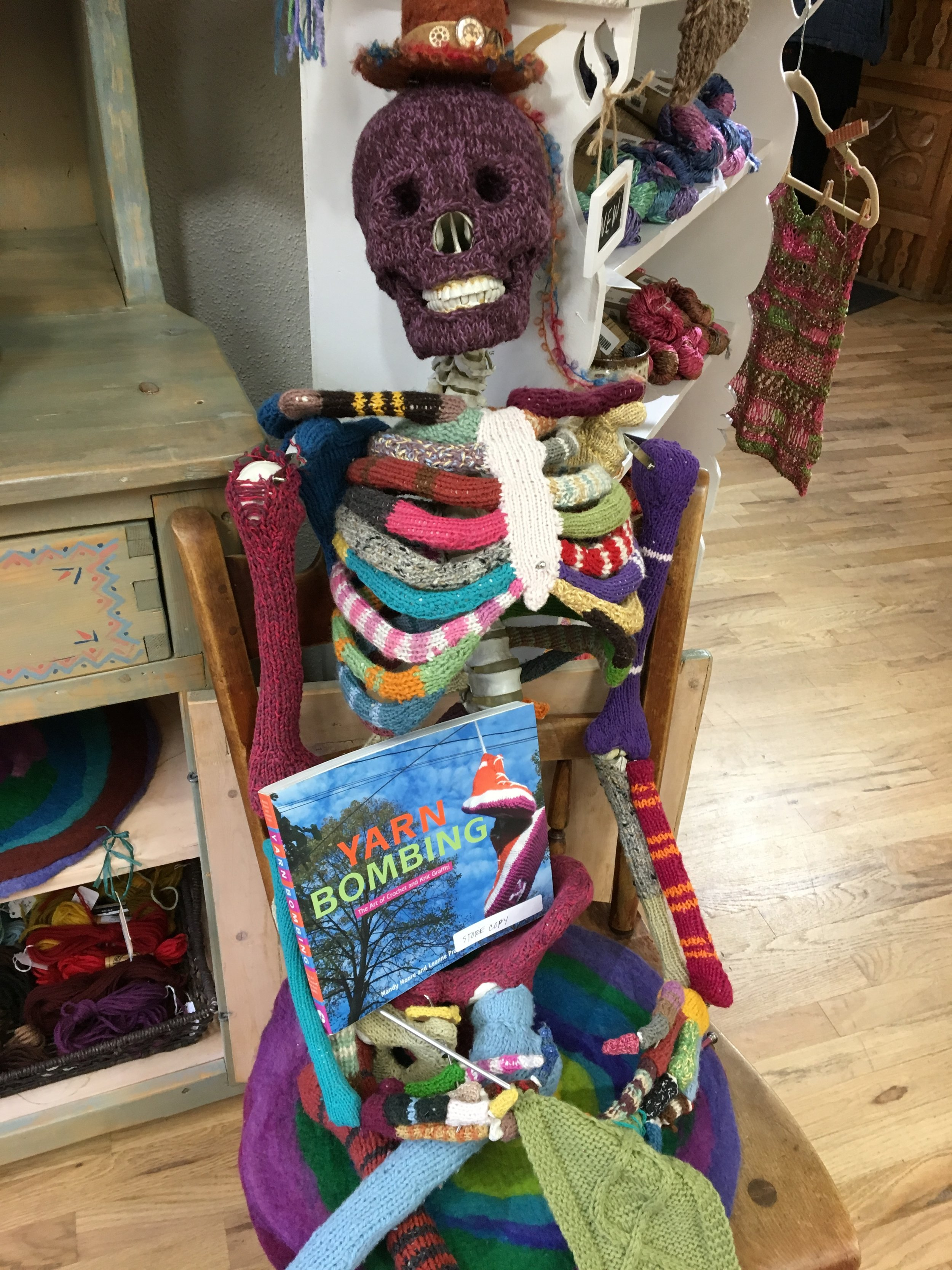 A yarn bombed friend at Vortex Yarns
