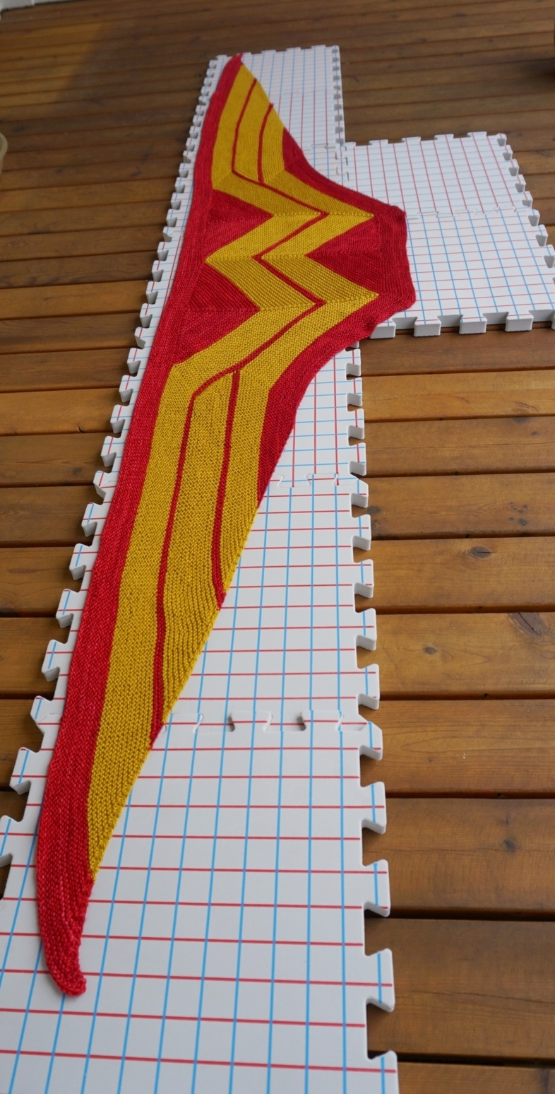 My  Wonder Woman  wrap is too long for my regular blocking board.