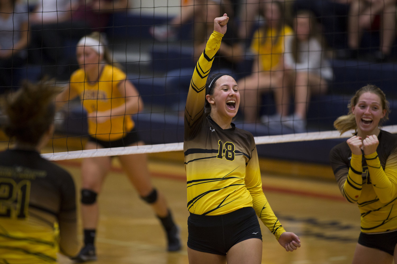 Nikolette Scruggs (18) of Baldwin Wallace University reacts after winning a point against St. John Fisher. on Friday, Sept. 16, 2016 at the St John Fisher College Invitational at St Joh Fisher College in Rochester, N.Y. Baldwin Wallace University defeated St. John Fisher 3-0.