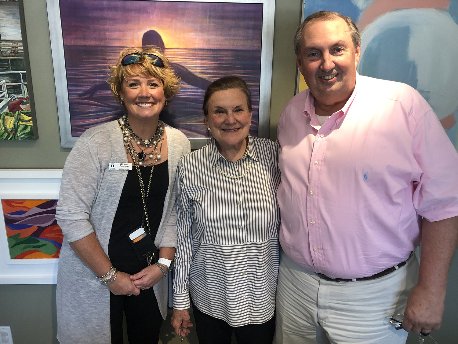 'Magnum Opus', Arts on the Coast Annual Exhibit Judges (from left to right): Ginger Graham, Sales and Tourism Relations Manager, Telfair Museums, Gale Steves, Director of ARC Savannah, and Mark Bolton, Vice President, Marketing Communications and Economic Development, Coastal Electric.