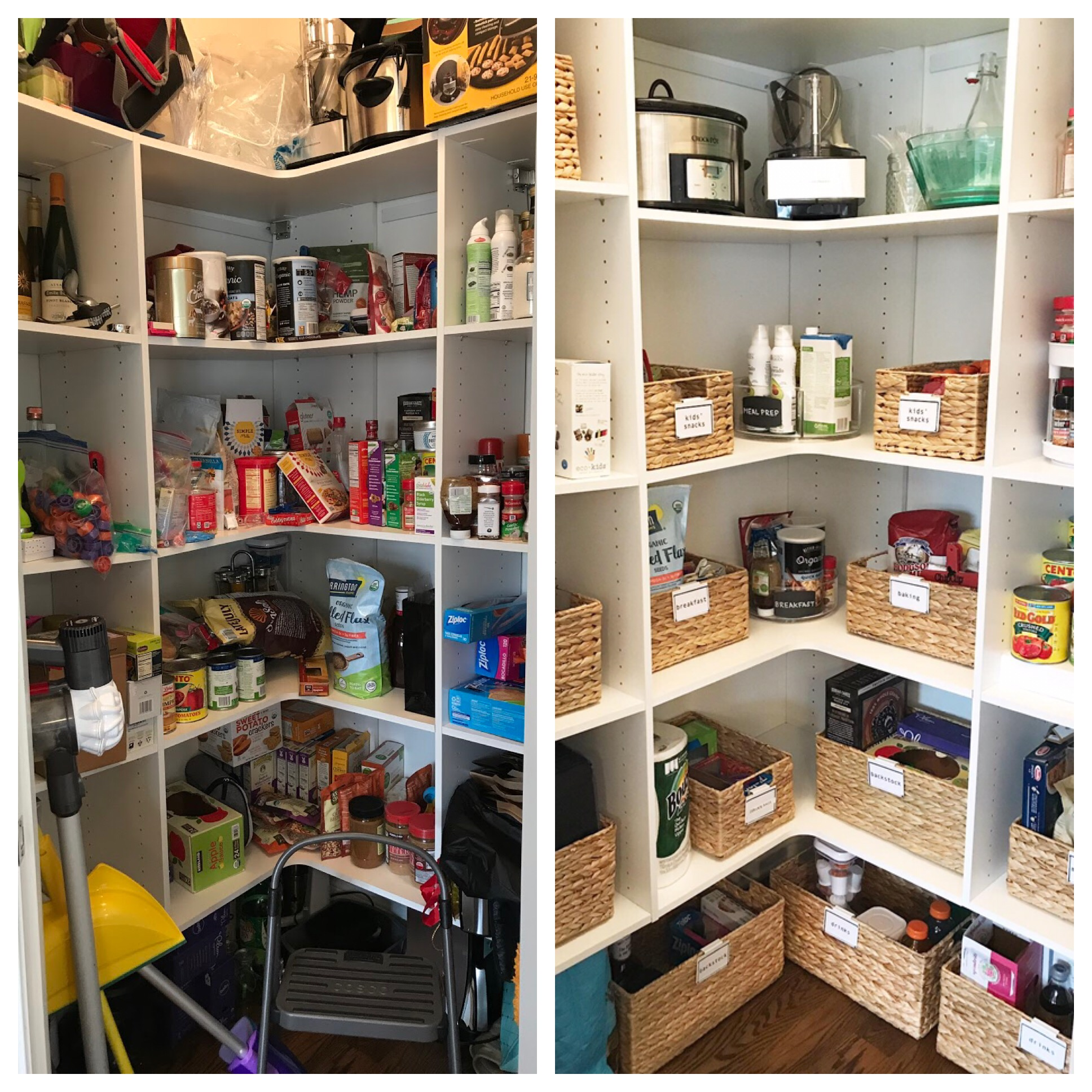 A before and after of a recent pantry project. This client's pantry is now ready for summer entertaining!