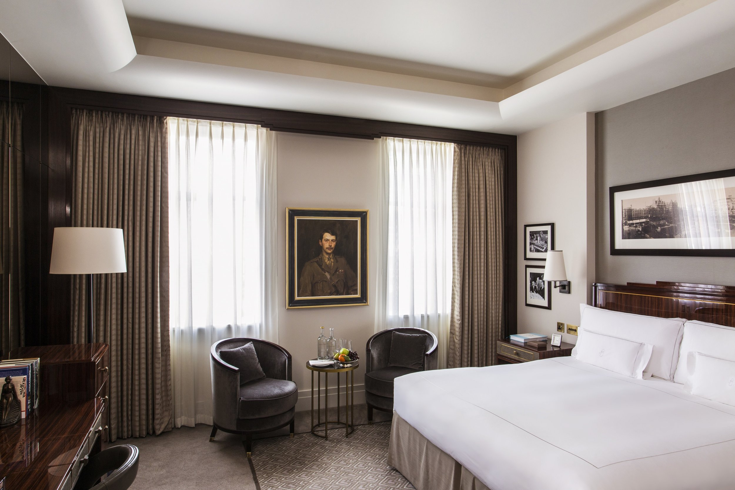 Rooms are spacious, with a subdued color palette and lots of original art