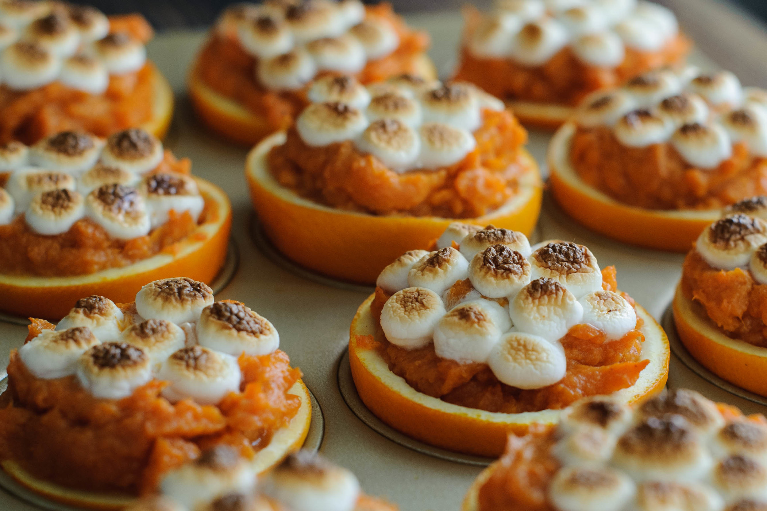 Candied Yams in Orange Cups
